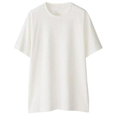 オーガニックコットンクルーネック半袖Tシャツ 紳士S・オフ白