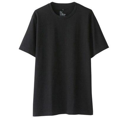 オーガニックコットンクルーネック半袖Tシャツ 紳士XS・黒