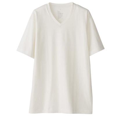 オーガニックコットンVネック半袖Tシャツ 紳士L・オフ白