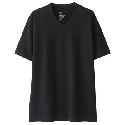 オーガニックコットンVネック半袖Tシャツ 紳士XS・黒