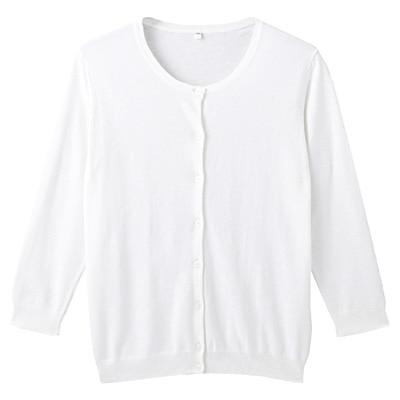 オーガニックコットン強撚UVカットクルーネックカーディガン(七分袖) 婦人M・白