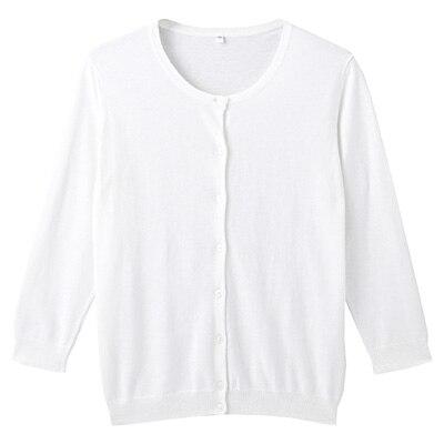 オーガニックコットン強撚UVカットクルーネックカーディガン(七分袖) 婦人L・白