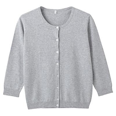 オーガニックコットン強撚UVカットクルーネックカーディガン(七分袖) 婦人・L・杢グレー