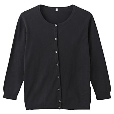 オーガニックコットン強撚UVカットクルーネックカーディガン(七分袖) 婦人S・黒