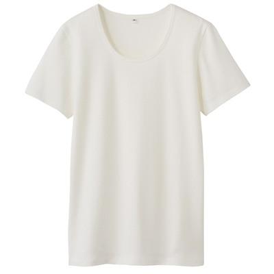 オーガニックコットンストレッチクルーネック半袖Tシャツ 婦人・XS・オフ白