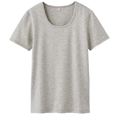 オーガニックコットンストレッチクルーネック半袖Tシャツ 婦人・M・杢ライトグレー