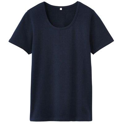 オーガニックコットンストレッチクルーネック半袖Tシャツ 婦人・L・紺
