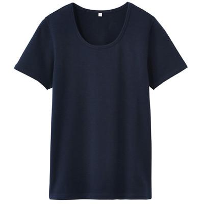 オーガニックコットンストレッチクルーネック半袖Tシャツ 婦人・XL・紺