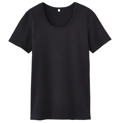 オーガニックコットンストレッチクルーネック半袖Tシャツ 婦人・XS・黒