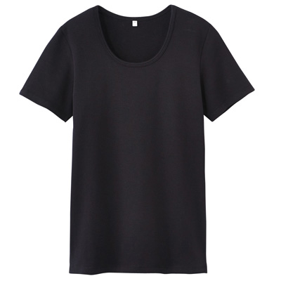 オーガニックコットンストレッチクルーネック半袖Tシャツ 婦人・L・黒