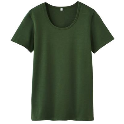 オーガニックコットンストレッチクルーネック半袖Tシャツ 婦人S・スモーキーグリーン