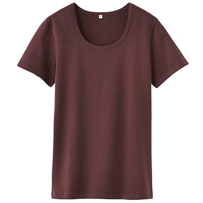 オーガニックコットンストレッチクルーネック半袖Tシャツ 婦人L・スモーキーブラウン