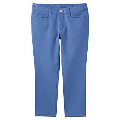 縦横ストレッチスキニークロップドパンツ 婦人70・ブルー