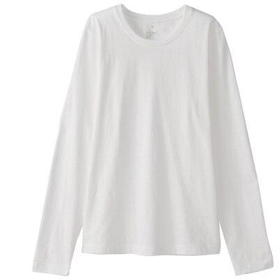 オーガニックコットンクルーネック長袖Tシャツ 婦人M・白