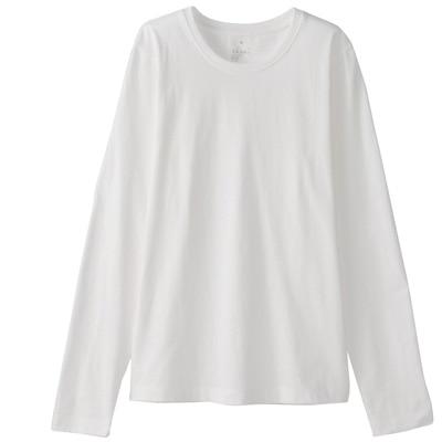 オーガニックコットンクルーネック長袖Tシャツ 婦人L・白