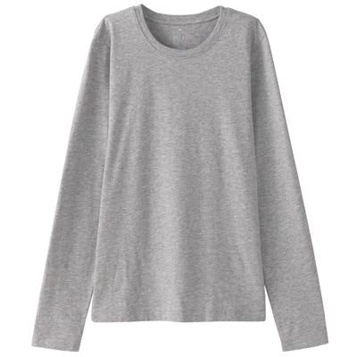 オーガニックコットンクルーネック長袖Tシャツ 婦人M・ライトグレー