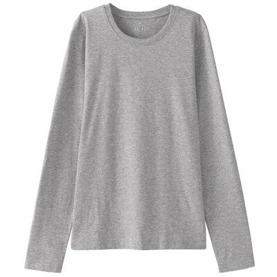 オーガニックコットンクルーネック長袖Tシャツ 婦人L・ライトグレー