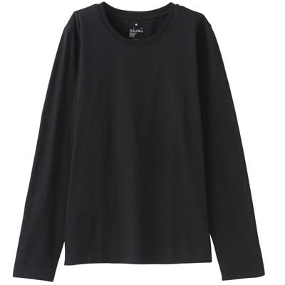オーガニックコットンクルーネック長袖Tシャツ 婦人M・黒