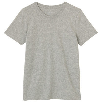 オーガニックコットンクルーネック半袖Tシャツ 婦人M・ライトグレー