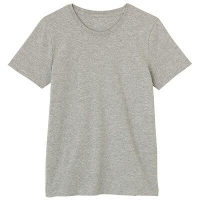 オーガニックコットンクルーネック半袖Tシャツ 婦人L・ライトグレー