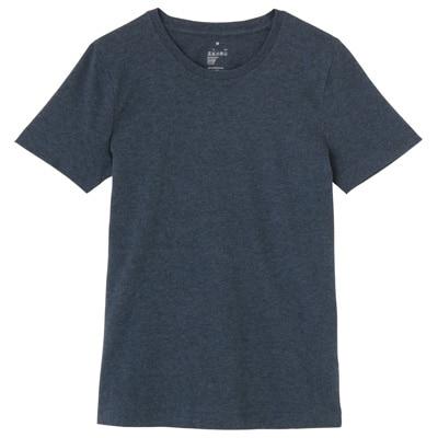 オーガニックコットンクルーネック半袖Tシャツ 婦人L・ネイビー