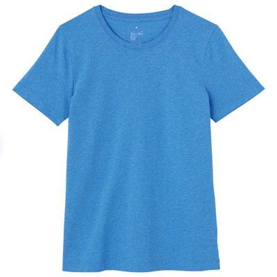 オーガニックコットンクルーネック半袖Tシャツ 婦人M・ブルー