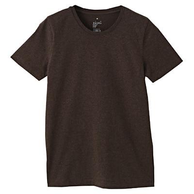 オーガニックコットンクルーネック半袖Tシャツ 婦人L・ブラウン