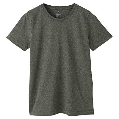 オーガニックコットンクルーネック半袖Tシャツ 婦人M・カーキグリーン