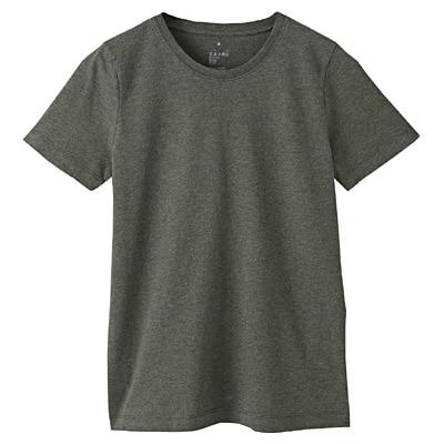 オーガニックコットンクルーネック半袖Tシャツ 婦人L・カーキグリーン