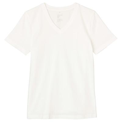 オーガニックコットンVネック半袖Tシャツ 婦人S・白