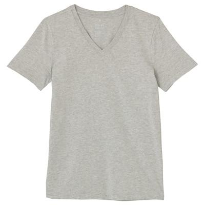 オーガニックコットンVネック半袖Tシャツ 婦人S・ライトグレー