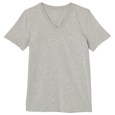 オーガニックコットンVネック半袖Tシャツ 婦人L・ライトグレー