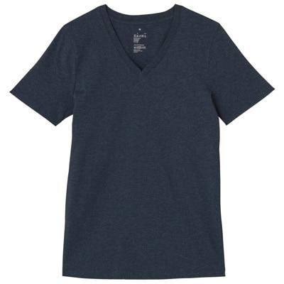 オーガニックコットンVネック半袖Tシャツ 婦人S・ネイビー