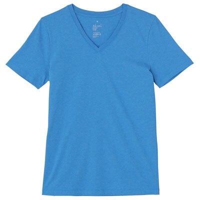 オーガニックコットンVネック半袖Tシャツ 婦人M・ブルー