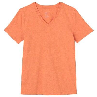 オーガニックコットンVネック半袖Tシャツ 婦人S・オレンジ