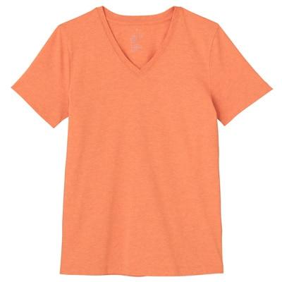 オーガニックコットンVネック半袖Tシャツ 婦人M・オレンジ