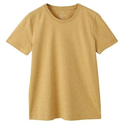 オーガニックコットンクルーネック半袖Tシャツ 婦人L・イエロー