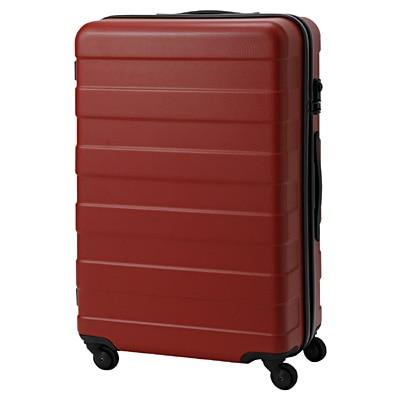 キャリーバーの高さを自由に調節できるストッパー付きハードキャリー(60L) 赤