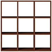 スタッキングシェルフセット・3段×3列・ウォールナット材/幅122×奥行28.5×高さ121cmの写真