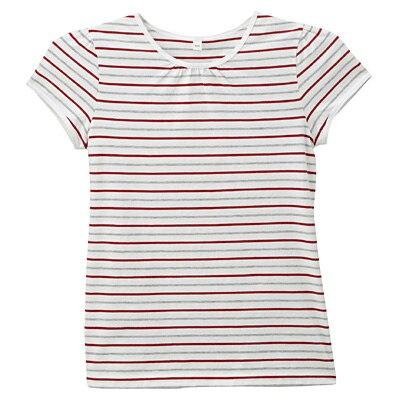 毎日のこども服フレンチスリーブTシャツ ジュニア150・赤×ボーダー