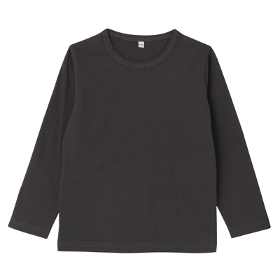 毎日のこども服長袖Tシャツ トドラー130・チャコールグレー