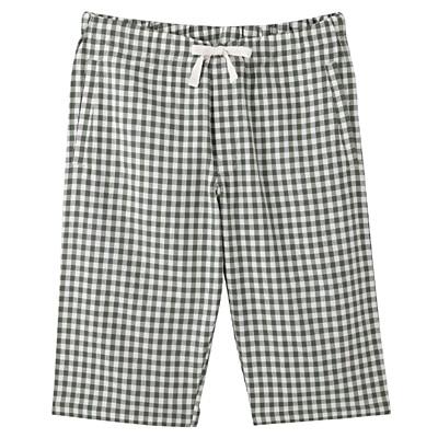 綿バスケット織りくつろぎハーフパンツ 紳士M・リーフグリーン×チェック