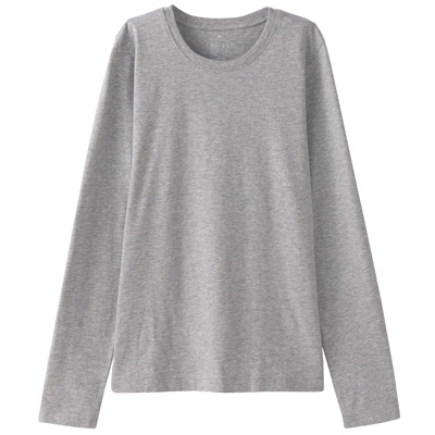 オーガニックコットンクルーネック長袖Tシャツ 婦人XL・ライトグレー
