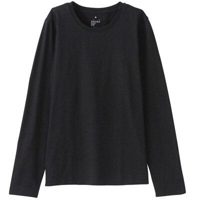 オーガニックコットンクルーネック長袖Tシャツ 婦人XS・黒