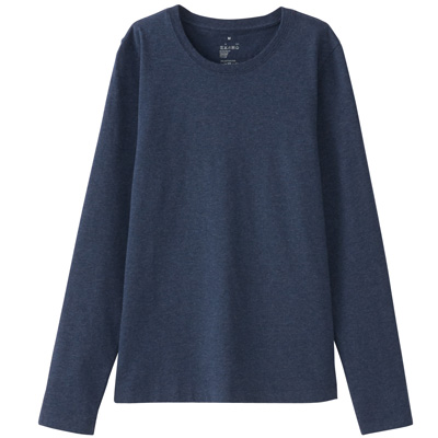 オーガニックコットンクルーネック長袖Tシャツ 婦人XL・ネイビー