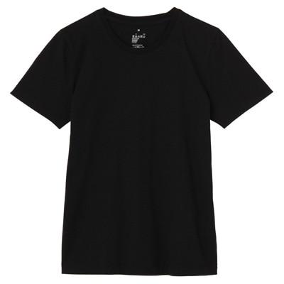 オーガニックコットンクルーネック半袖Tシャツ 婦人XS・黒