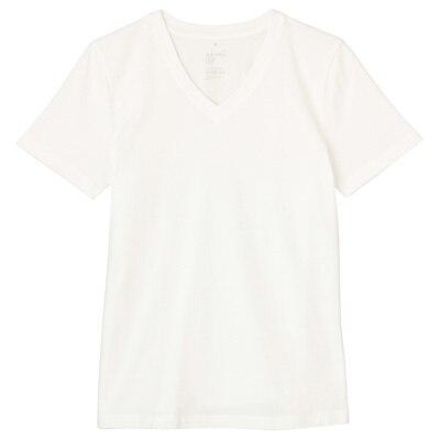 オーガニックコットンVネック半袖Tシャツ 婦人XL・白