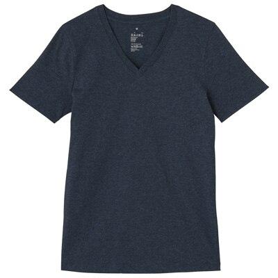 オーガニックコットンVネック半袖Tシャツ 婦人XL・ネイビー