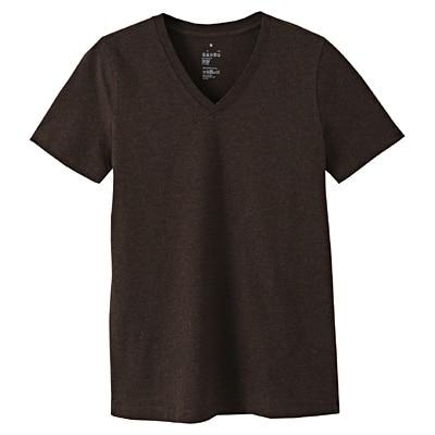 オーガニックコットンVネック半袖Tシャツ 婦人XL・ブラウン