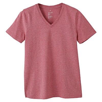 オーガニックコットンVネック半袖Tシャツ 婦人XL・ローズ